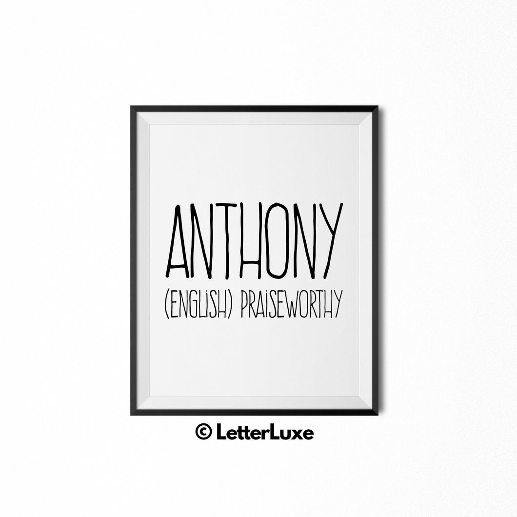 Anthony Name Meaning Art - New Baby Gift - LetterLuxe