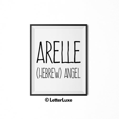 Arelle Name Meaning Art - Printable Baby Shower Gift - Birthday Party Decorations - LetterLuxe