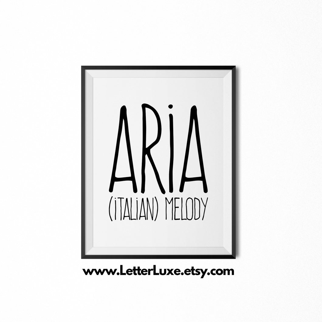 Aria Personalized Nursery Decor - Baby Shower Decorations - LetterLuxe