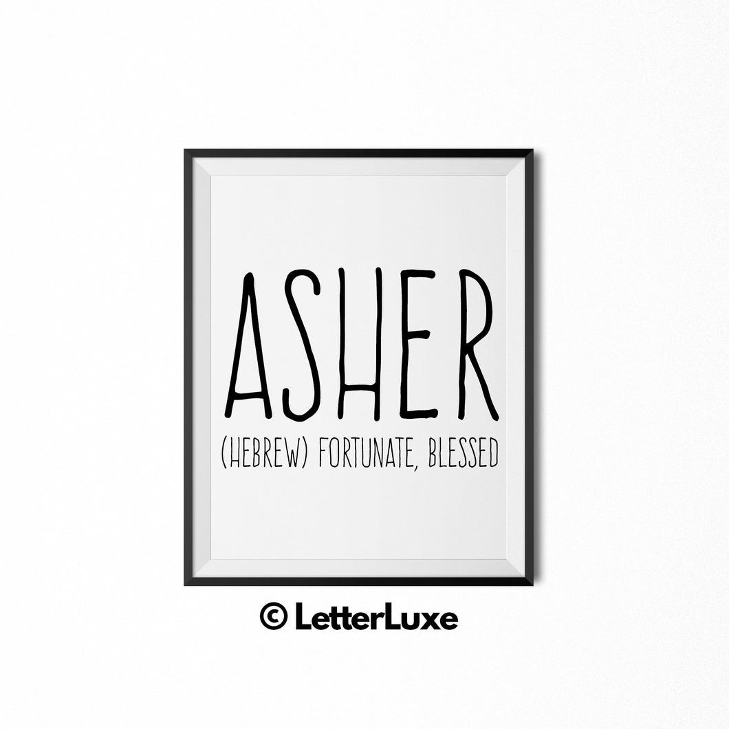 Asher Name Meaning Art - Nursery Decor for Boys