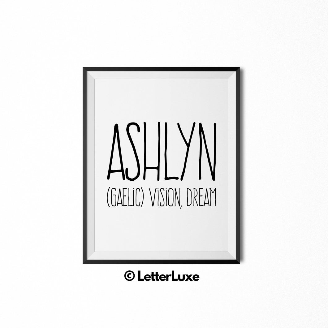 Ashlyn Printable Bedroom Decor - Birthday Party Decoration Idea