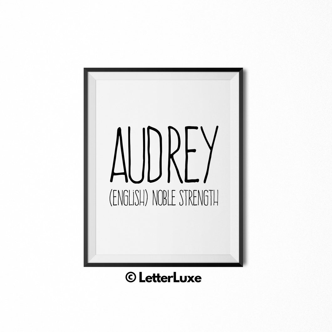 Audrey Name Meaning Wall Decor - LetterLuxe
