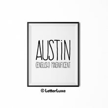 Austin Name Meaning Art - Printable Baby Shower Gift