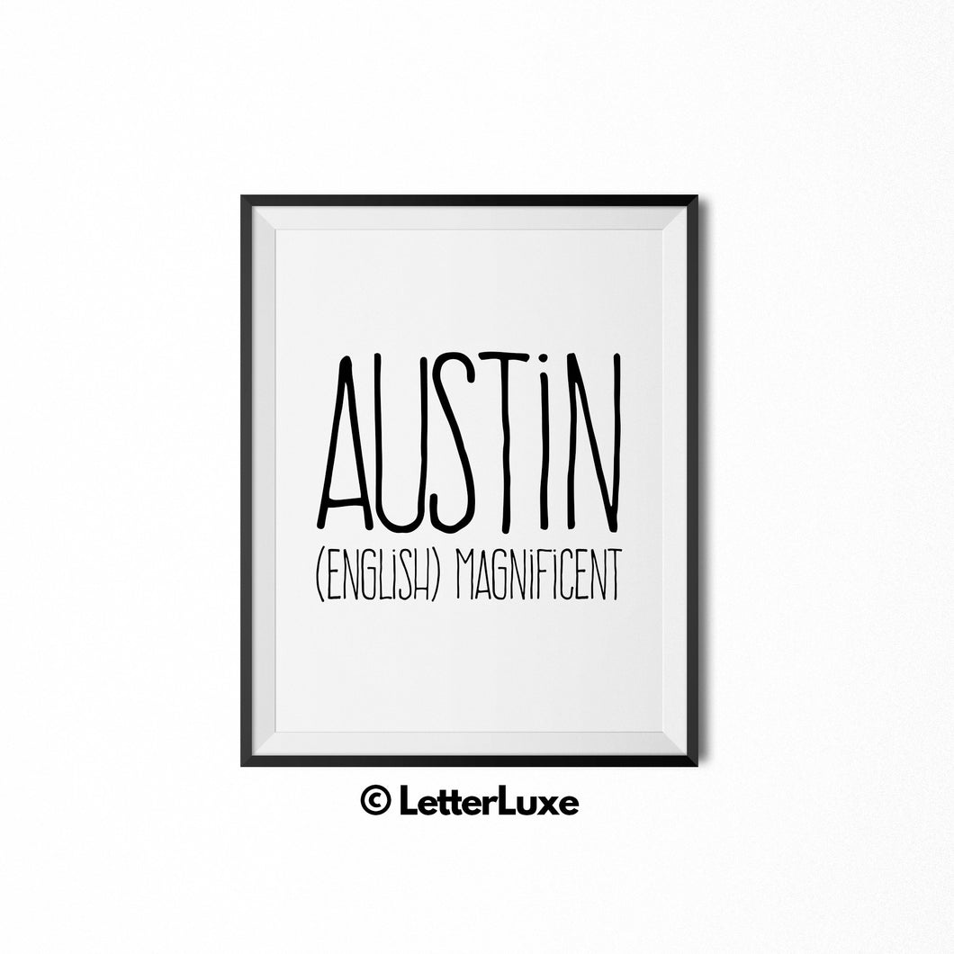 Austin Name Meaning Art - Printable Baby Shower Gift - LetterLuxe