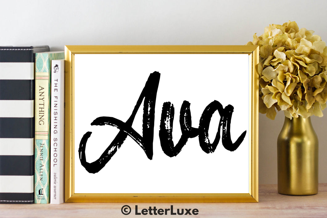 Ava Name Art - Printable Gallery Wall - Romantic Bedroom Decor - Living Room Printable - Last Minute Gift for Mom or Girlfriend - LetterLuxe