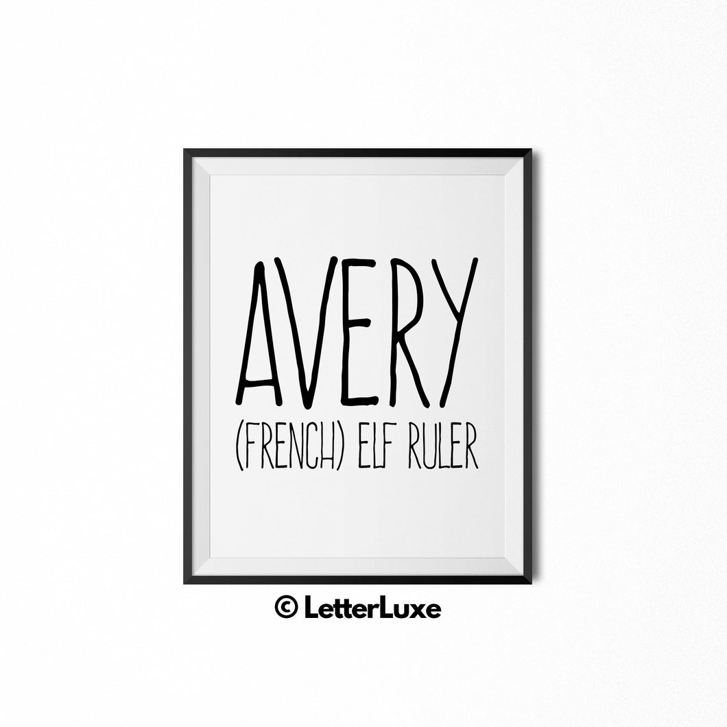 Avery Name Meaning Art - Printable Bedroom Decor - LetterLuxe