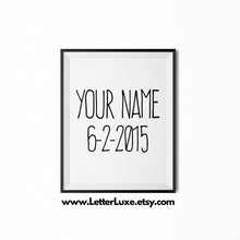 Personalized Name & Birthdate Art - Custom Graphic Design - Choose the Birthday Date & Color - LetterLuxe