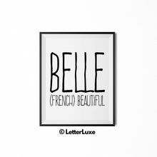 Belle Name Meaning Art - Baby Girl Nursery Decor