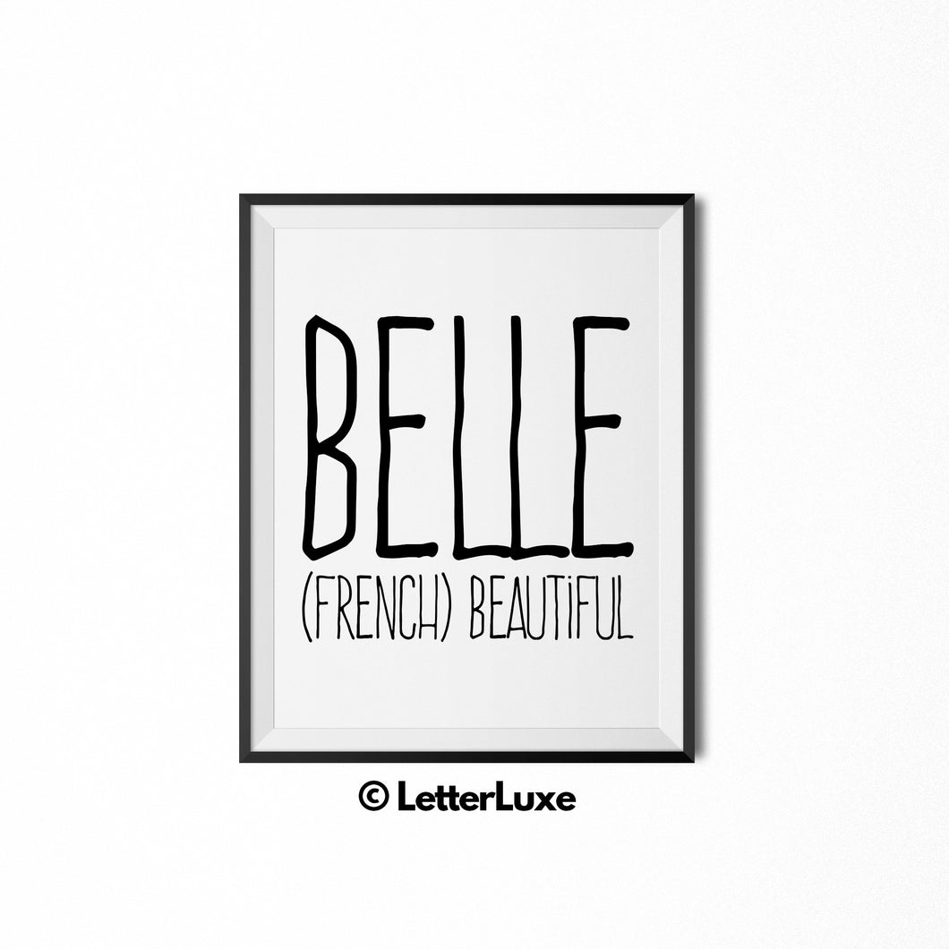 Belle Name Meaning Art - Baby Girl Nursery Decor - LetterLuxe