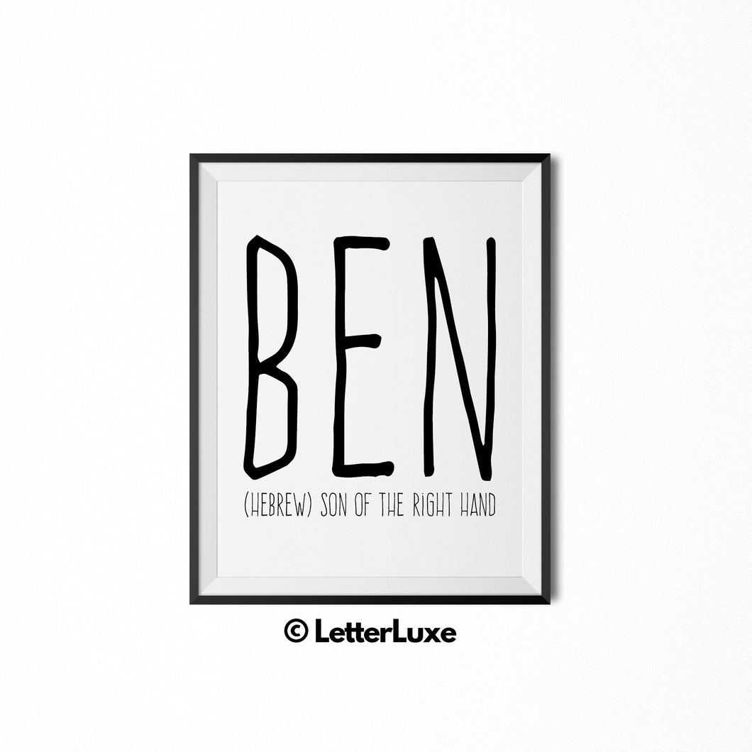 Ben Printable Bedroom Decor - Birthday Party Decoration Ideas - LetterLuxe