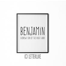 Benjamin Name Meaning Art - Birthday Gift Download - Baby Shower Decoration Idea