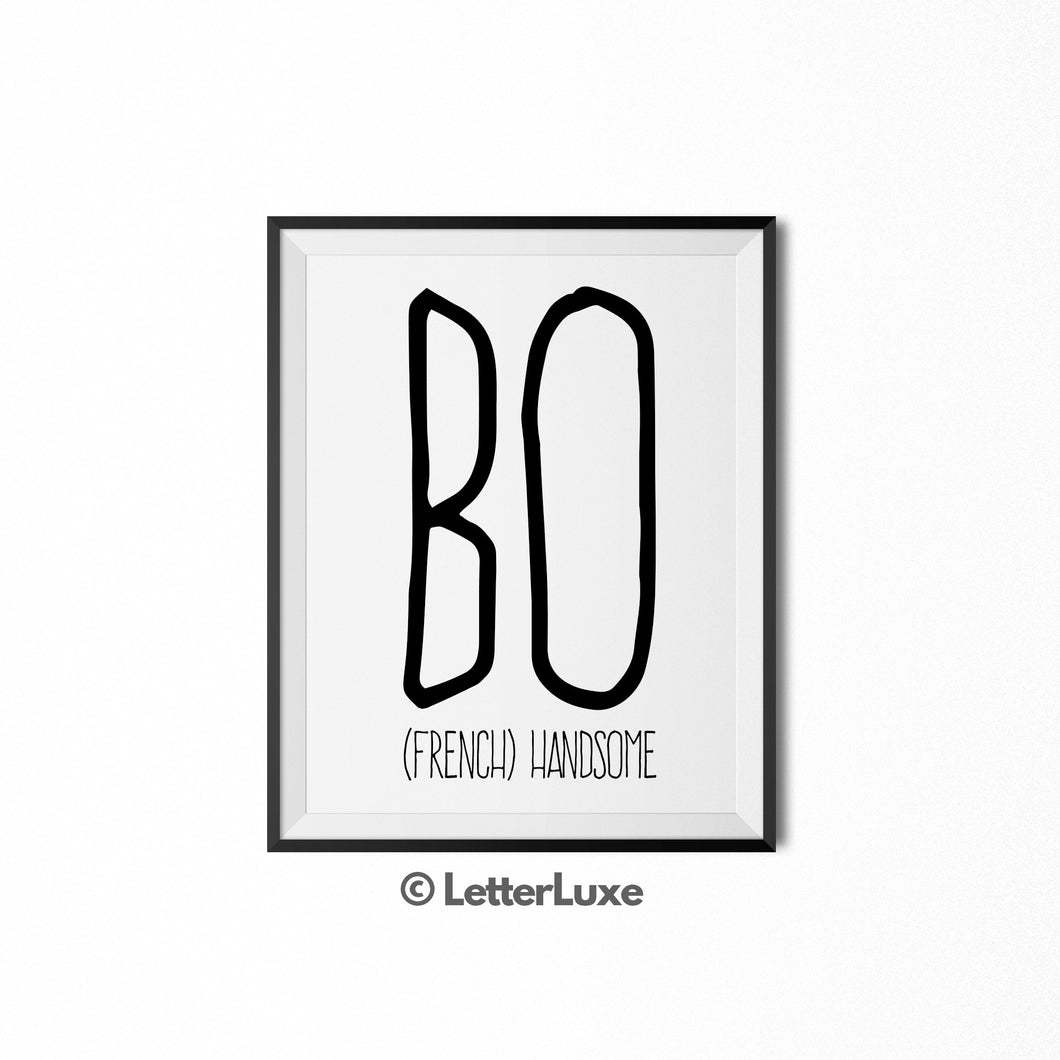 Bo Name Definition - Printable Nursery Wall Art - LetterLuxe