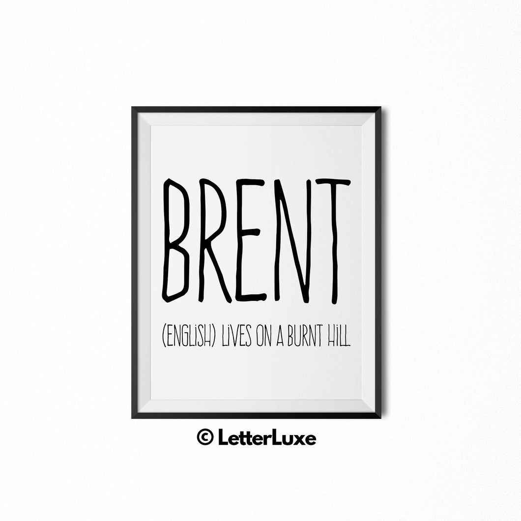 Brent Name Meaning Art - Birthday Gift Download for Boys and Men - LetterLuxe