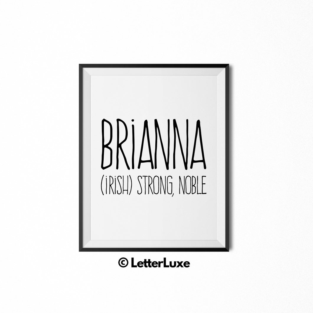 Brianna Name Meaning Bedroom Decor - Birthday Party Decoration Idea - LetterLuxe