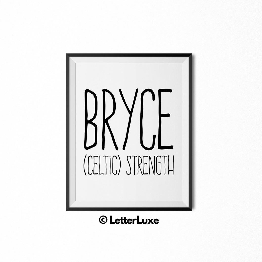 Bryce Name Meaning Art - Printable Birthday Gift - LetterLuxe