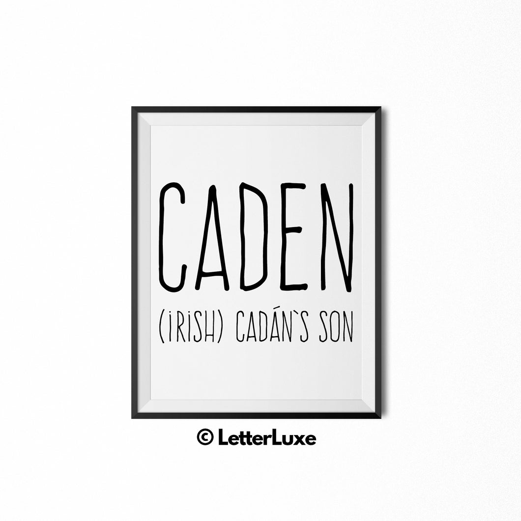 Caden Name Meaning - Instant Download - Birthday Gift for Nephew - LetterLuxe