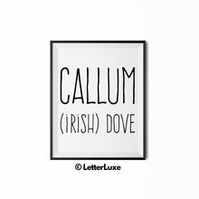 Callum Name Definition - Printable Nursery Wall Art - Baby Shower Gift - Birthday Party Decorations