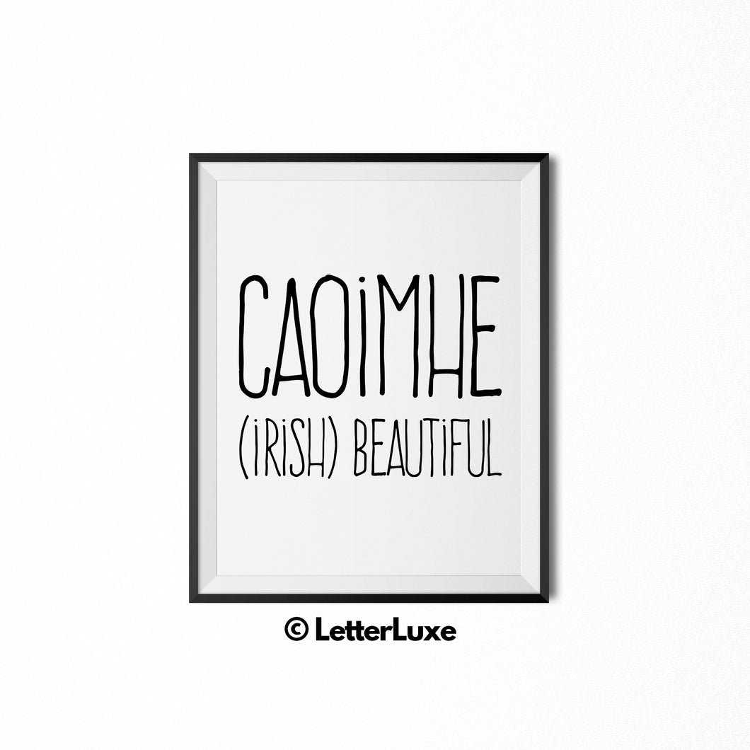 Caoimhe Name Meaning - Nursery Decor - Printable Art