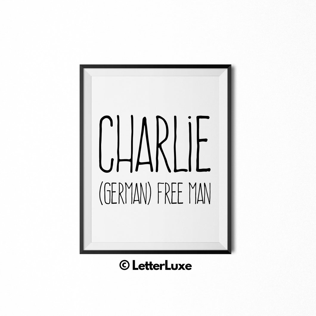 Charlie Name Meaning Art - Printable New Baby Gift - LetterLuxe