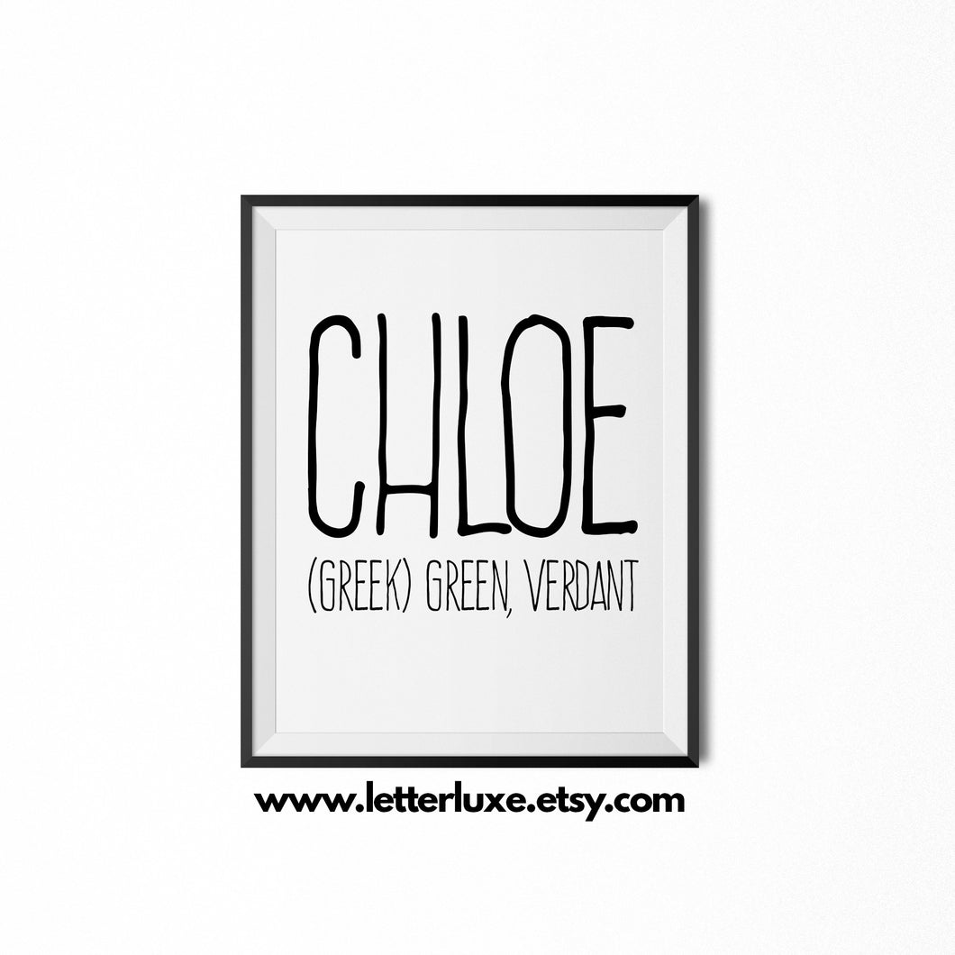 Chloe Name Meaning Art - Printable Baby Shower Gift