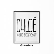 Chloe Name Meaning Art - Printable Baby Shower Gift - LetterLuxe