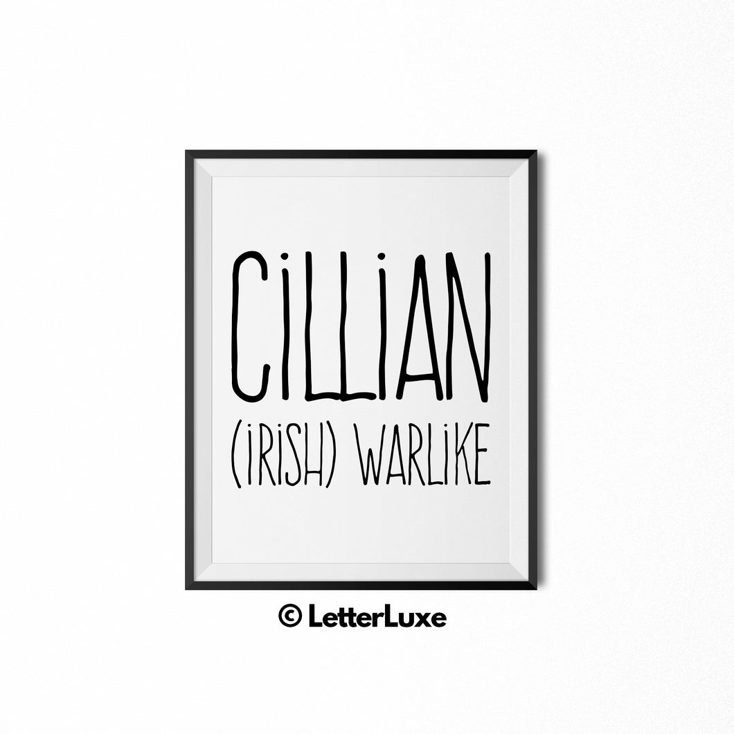 Cillian Name Meaning Bedroom Decor - Birthday Party Decoration Idea - LetterLuxe