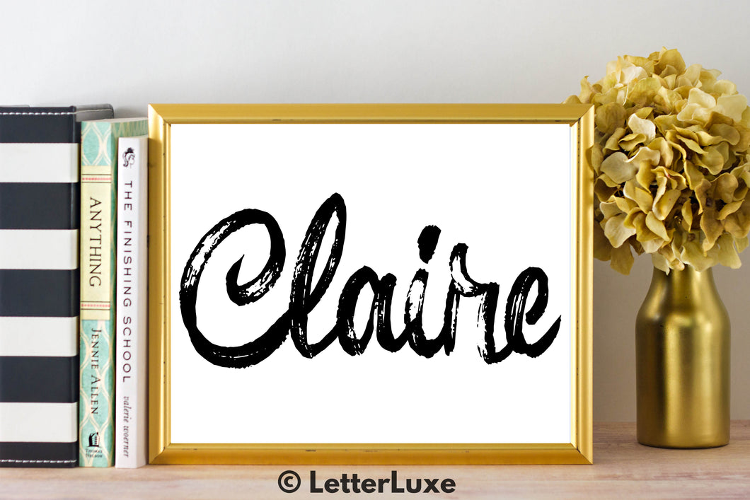 Claire Name Art - Printable Gallery Wall - Romantic Bedroom Decor - Living Room Printable - Last Minute Gift for Mom or Girlfriend - LetterLuxe