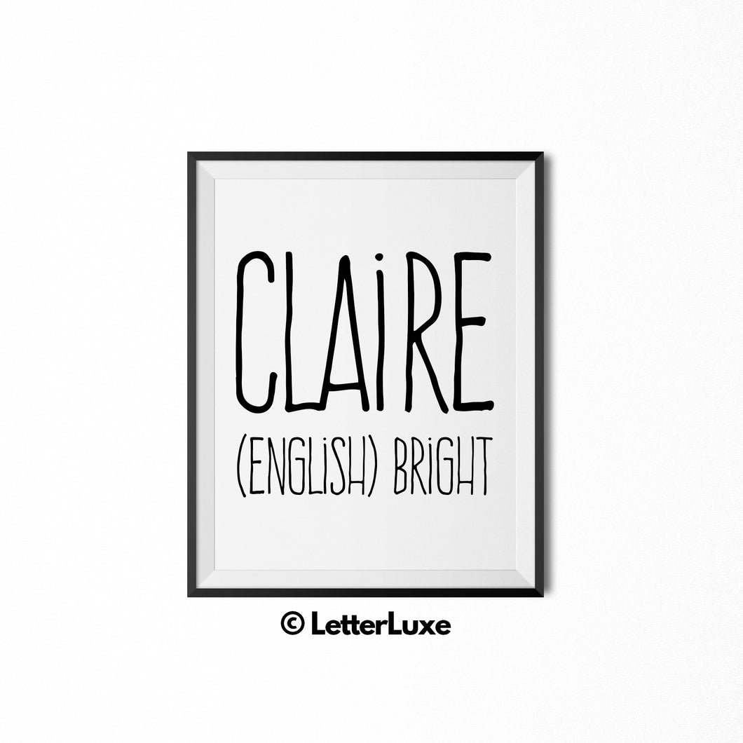 Claire Name Definition - Birthday Gift