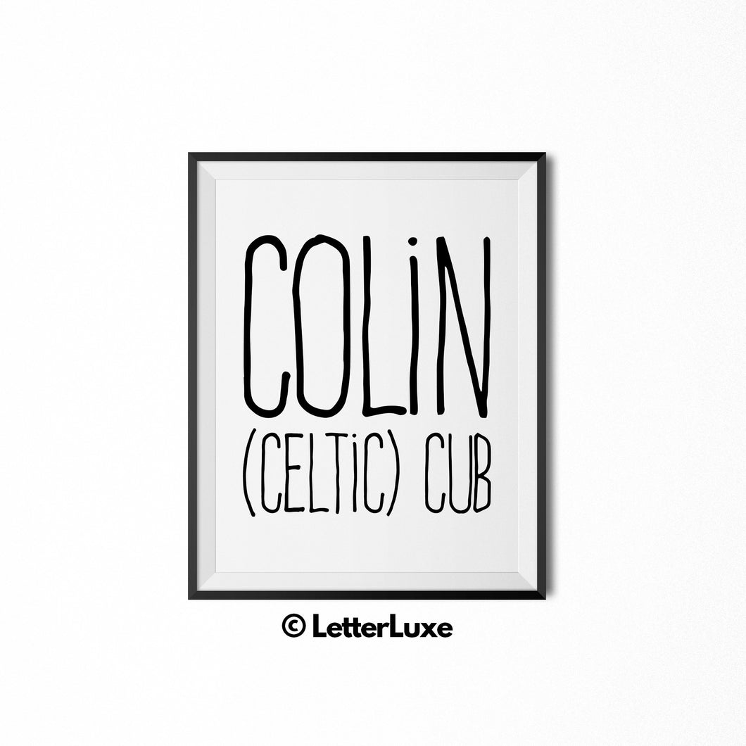 Colin Printable Bedroom Decor - Birthday Party Decoration Ideas - LetterLuxe