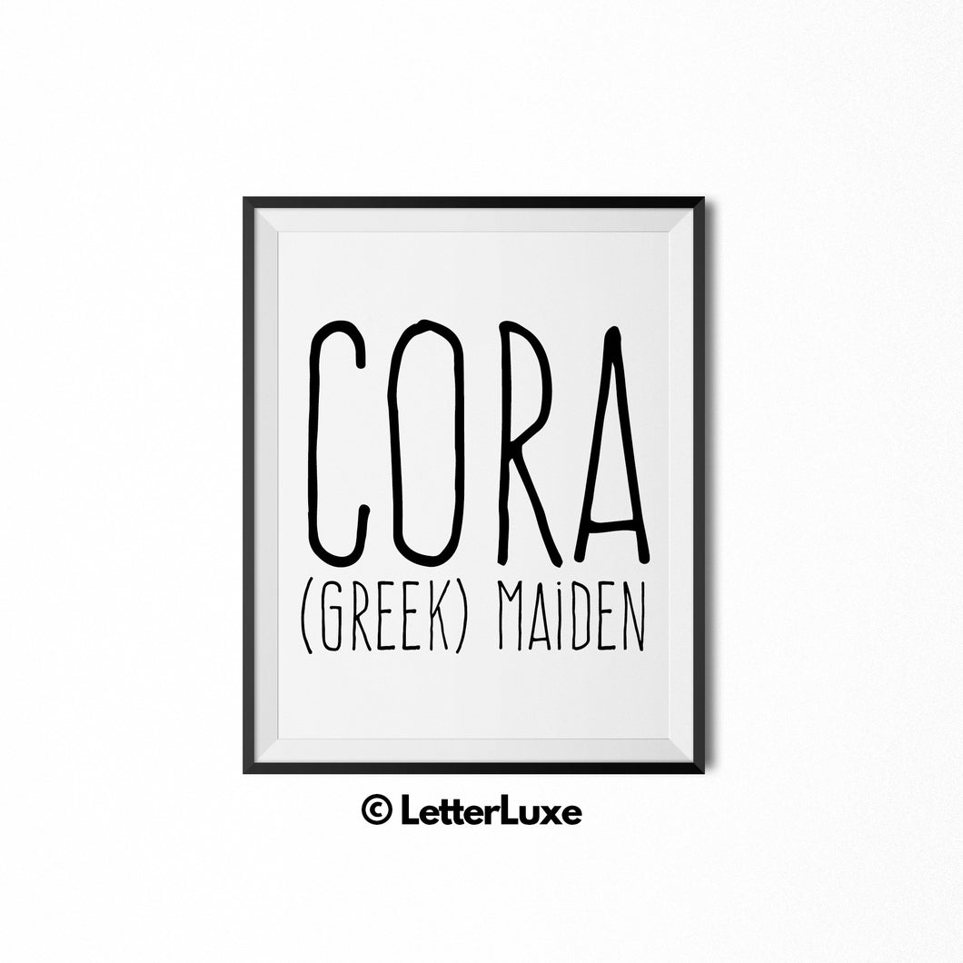 Cora Printable Bedroom Decor - Birthday Party Decoration Idea - LetterLuxe