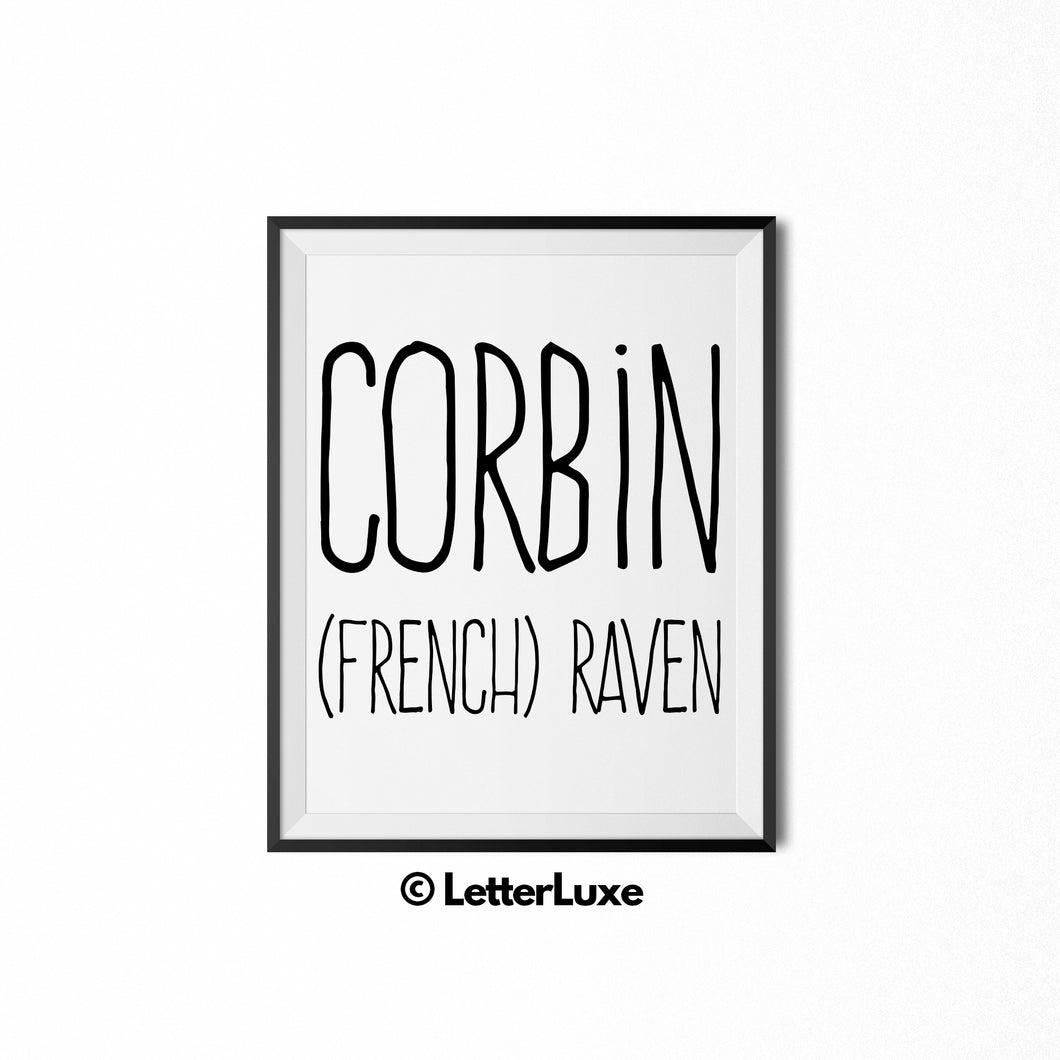 Corbin Name Meaning - Birthday Gift for Nephew, Uncle, Dad, Brother - Instant Download