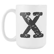 Initial Mug - Letter X - 15oz Ceramic Cup - Nephew Gift Mug - Right-Handed or Left-Handed Mug