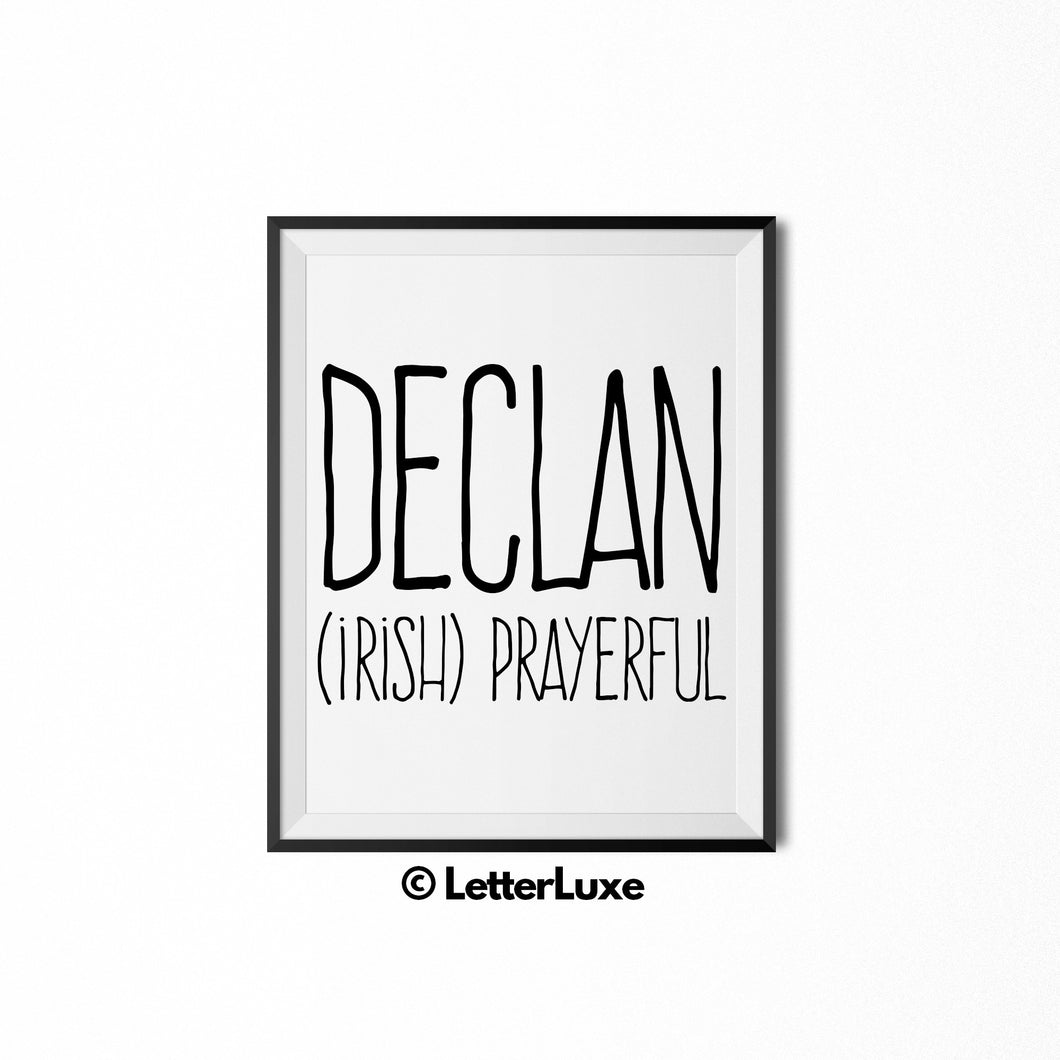 Declan Name Meaning - Christian Baby Shower Gift - LetterLuxe