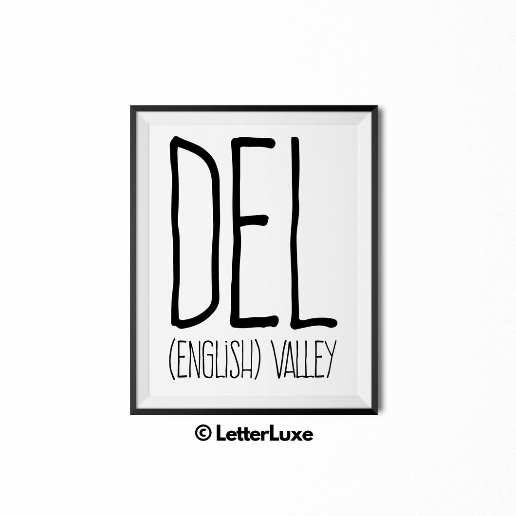 Del Name Meaning - Birthday Gift for Nephew, Uncle, Dad, Brother - Instant Download - LetterLuxe