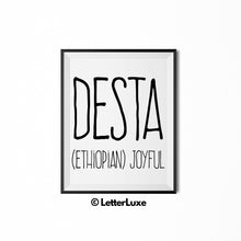 Desta Name Meaning Art - Printable Baby Shower Gift - Birthday Party Decorations - LetterLuxe