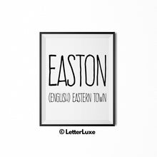 Easton Printable Kids Gift - Name Meaning Wall Decor - Baby Shower Gift Idea - LetterLuxe