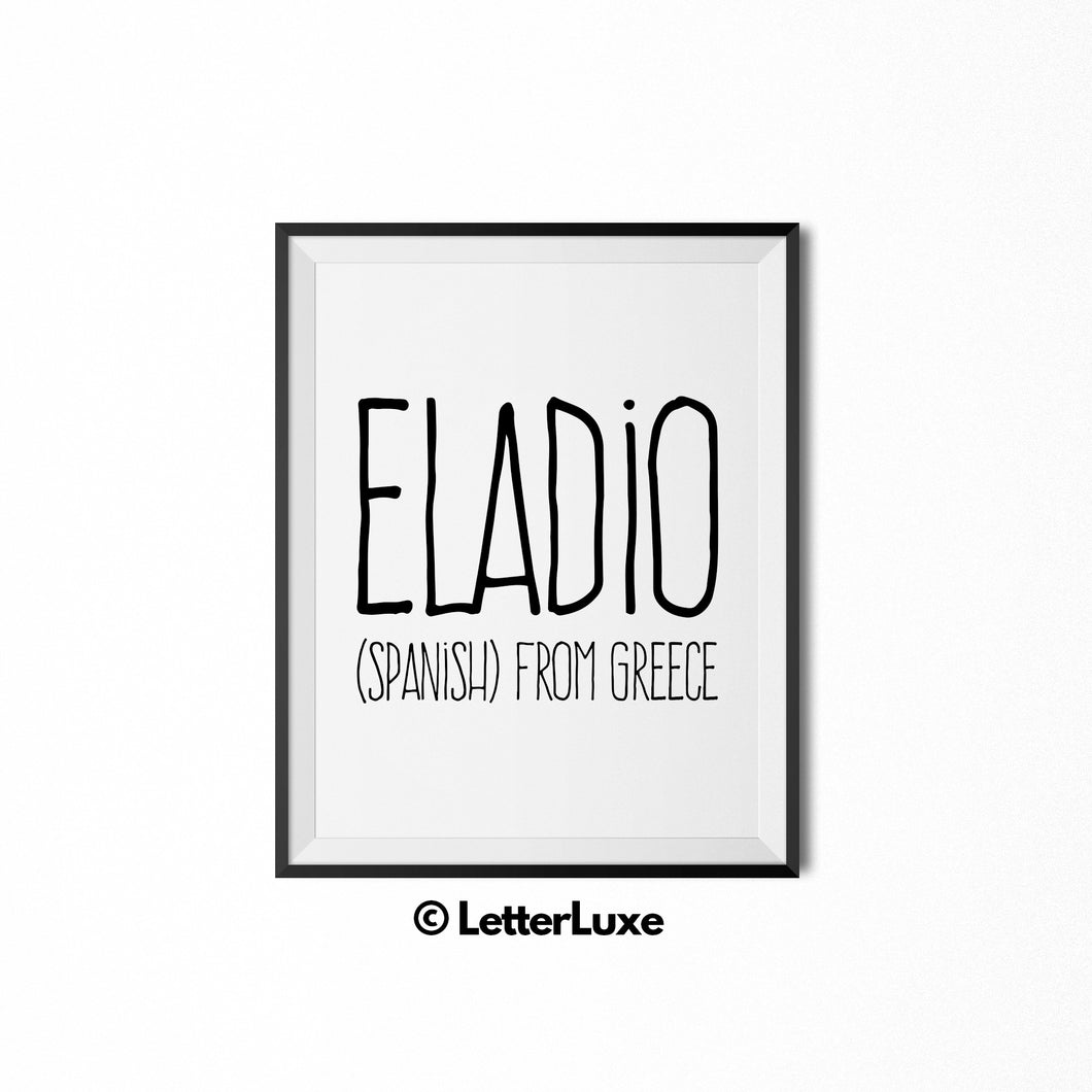 Eladio Name Meaning Nursery Decor - LetterLuxe