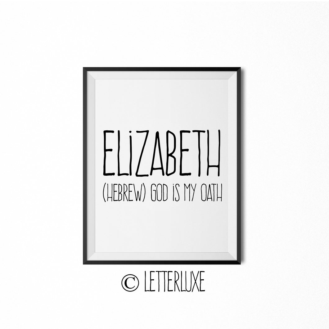 Elizabeth Printable Bedroom Decor - Birthday Gift Idea for Women