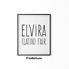 Elvira Name Meaning Art - Printable Bedroom Decor - LetterLuxe