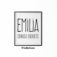 Emilia Name Meaning Art - Gallery Wall Decorations - Entryway Family Art