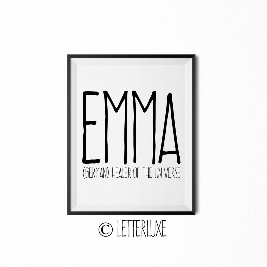 Emma Name Meaning Art - Printable Birthday Party Decorations - LetterLuxe