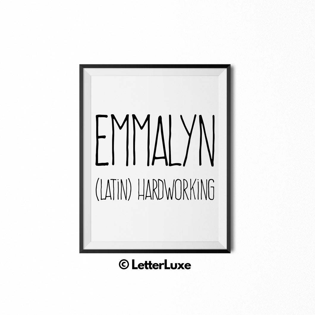 Emmalyn Printable Bedroom Decor - Parental Leave Gift - 1st Birthday Party Decoration Idea