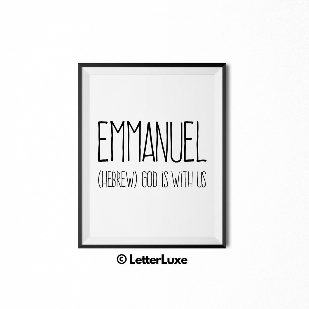 Emmanuel Name Meaning Art - Printable New Baby Gift
