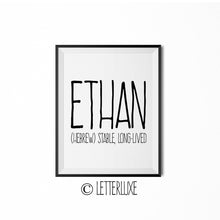 Ethan Printable Kids Decor - Baby Shower Decoration Idea - LetterLuxe