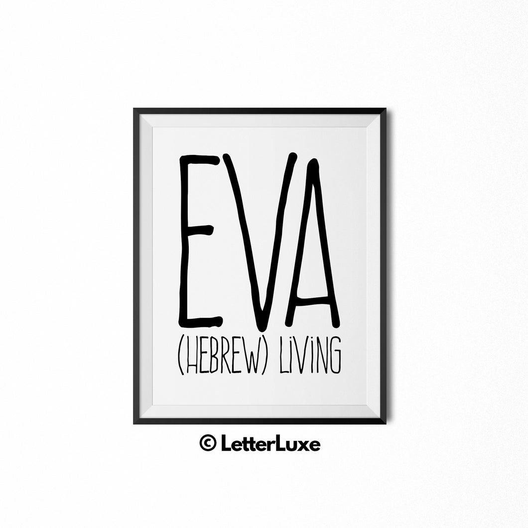 Eva Name Meaning Art - Gallery Wall Decorations - Entryway Family Art