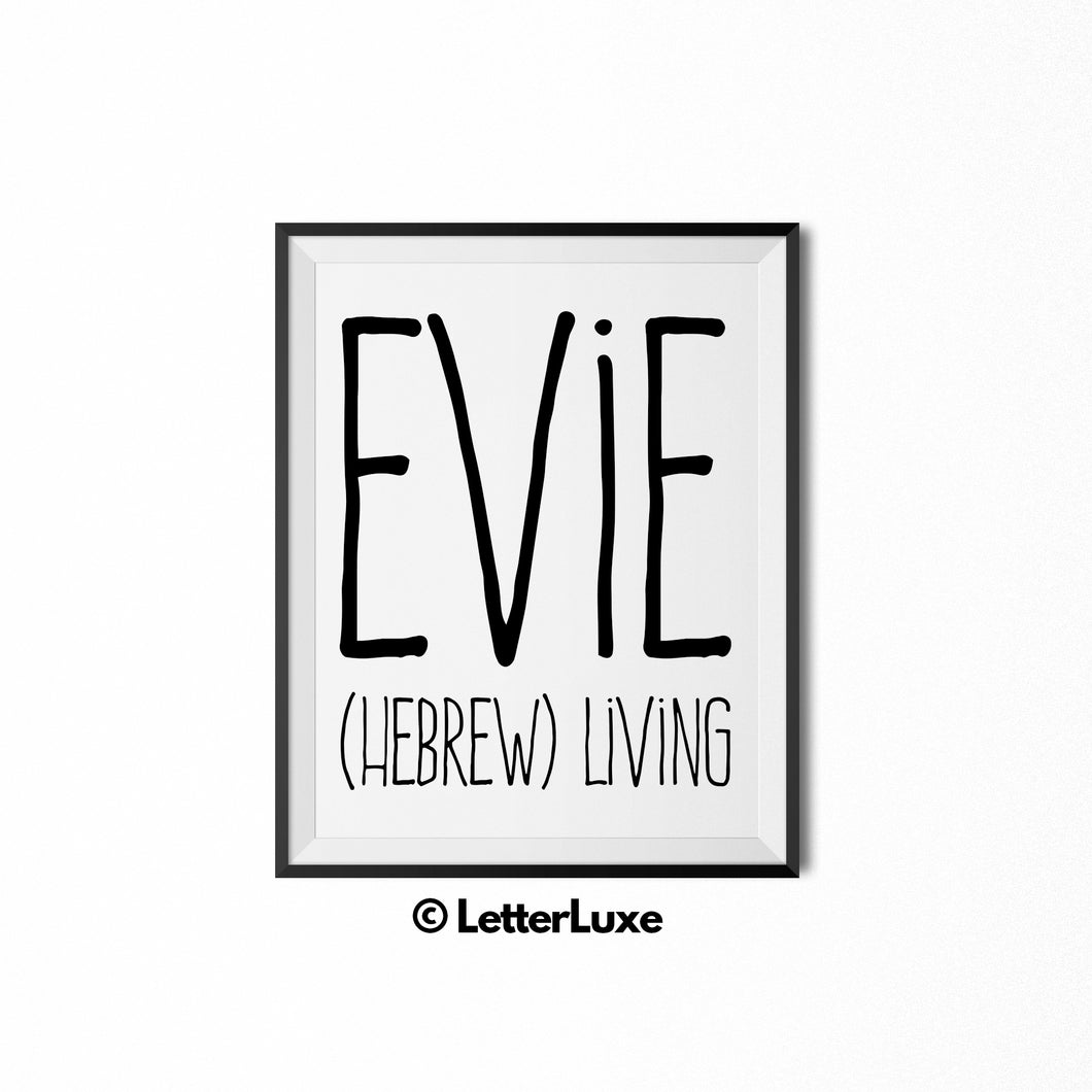 Evie Name Meaning Art - Gallery Wall Decorations - Entryway Family Art