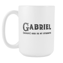 Gabriel Name Meaning Mug - 15oz Coffee Cup - Birthday Gift for Man - Personalized Office Mug - Husband Dad Granddad Gift Idea - LetterLuxe