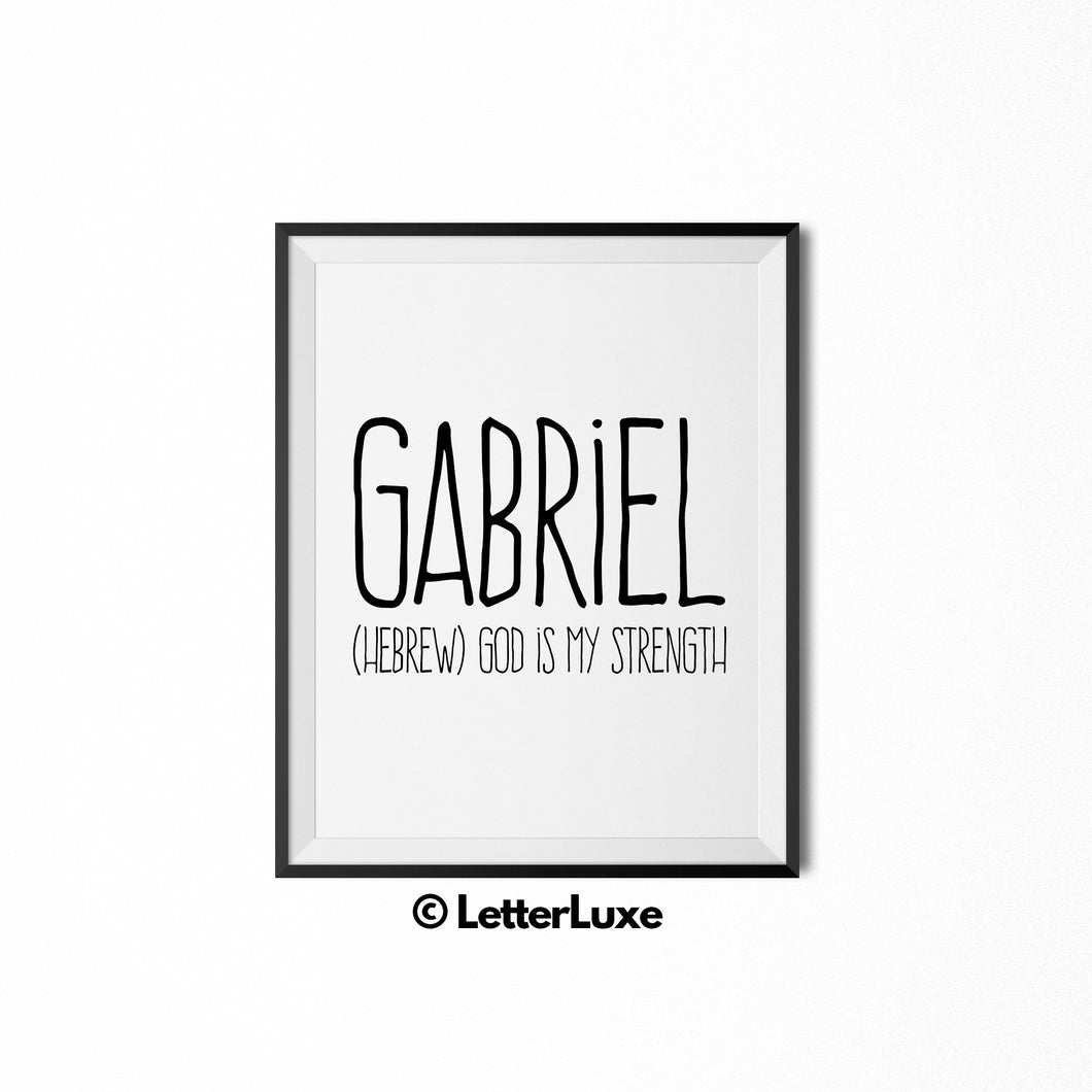 Gabriel Printable Kids Gift - Name Meaning Art - LetterLuxe