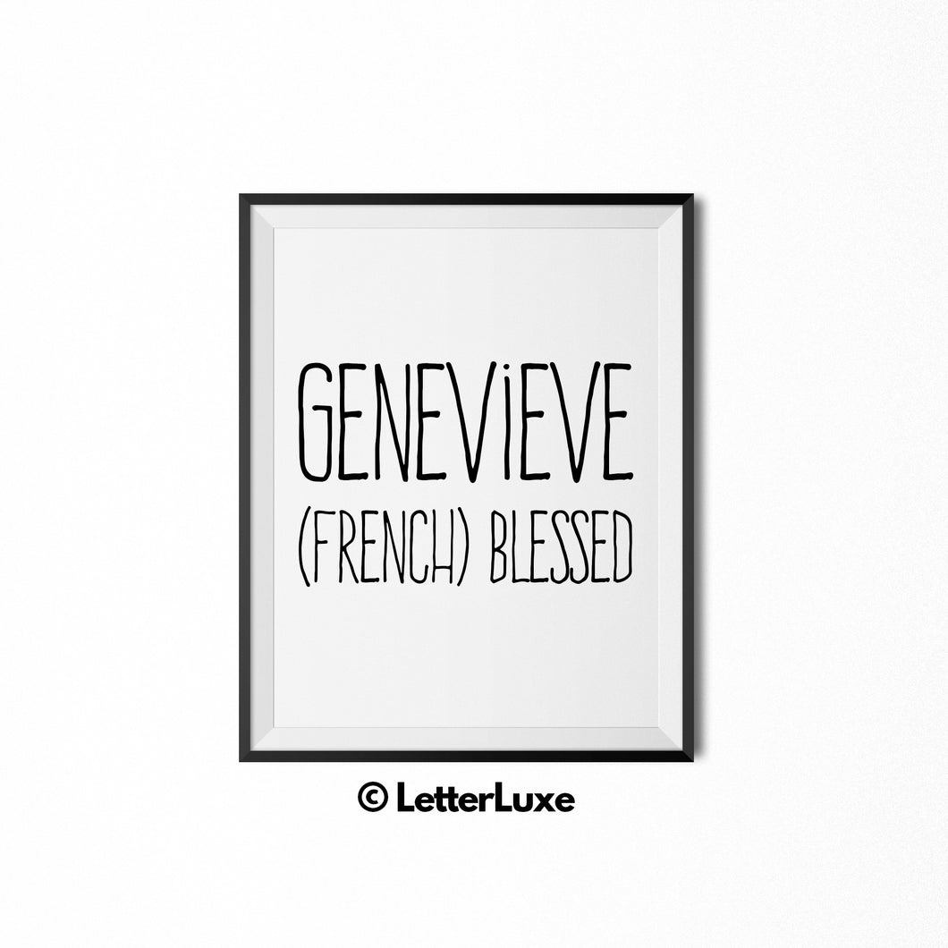 Genevieve Name Definition - Typography Wall Decor - LetterLuxe