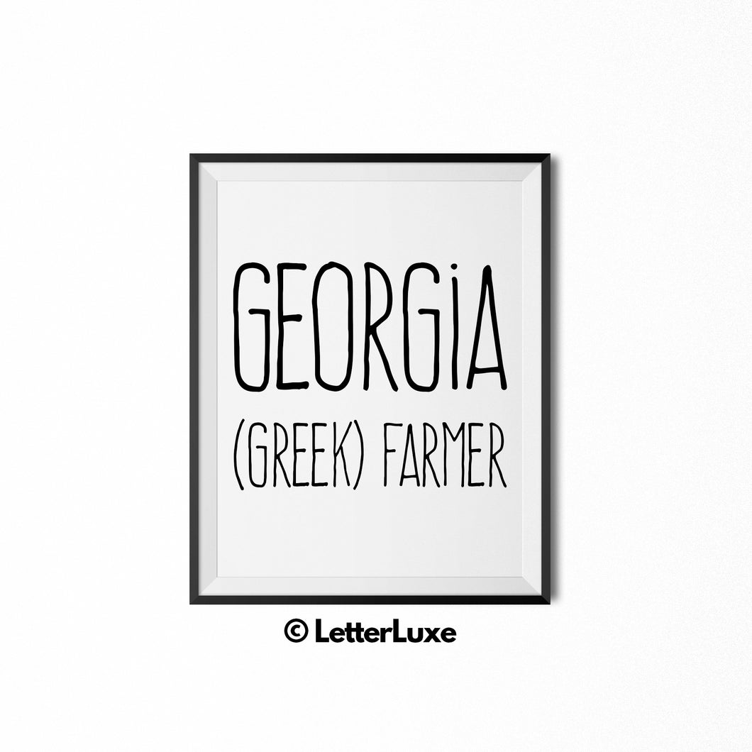 Georgia Printable Bedroom Decor - Birthday Gift Idea for Girls - Farm Gift